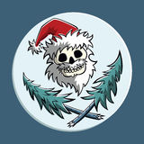 Piratic Santa Claus. Vector comic piratic symbol of a skull in Santa Claus hat with two crossed christmas trees. Square format Royalty Free Stock Photo
