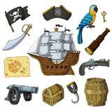 Piratic vector pirating sailboat parrot character of pirot or buccaneer illustration set of piracy signs hat chest sword stock illustration