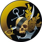 Piratical style badge. Piratical style emblem with skull and ribbon Royalty Free Stock Photos