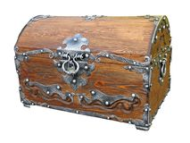 Piratical vintage wooden chest isolated Royalty Free Stock Images