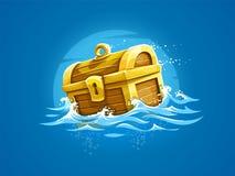 Piraticboomstam met schatten en het gouden drijven Royalty-vrije Stock Afbeelding