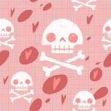 Piratkopiera bakgrund för kortet för skalleflaggapartiet sömlös Royaltyfria Bilder