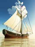 Piratkopiera brigantinen Royaltyfria Bilder