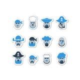 Piratkopiera den head uppsättningen, teckenavatar Fotografering för Bildbyråer