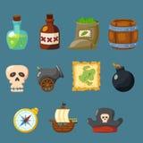Piratkopiera den modiga gulliga uppsättningen för symbolsinventariumvapnet Royaltyfri Bild