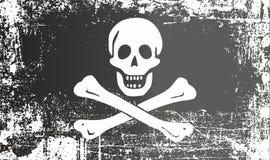 Piratkopiera den svarta flaggan med en mänsklig skalle och ben, Jolly Roger Rynkiga smutsiga fläckar royaltyfri illustrationer