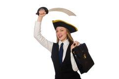 Piratkopiera det flickainnehavpåsen och svärdet som isoleras på Royaltyfri Foto