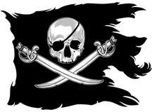 Piratkopiera flaggan med en skalle stock illustrationer