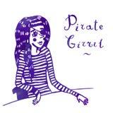 Piratkopiera flickan i sjömannens gjord randig illustration för vektor för västvattenfärg royaltyfri illustrationer