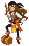 Piratkopiera flickan med pulvervapnet och skattbröstkorgen Royaltyfri Foto
