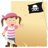 Piratkopiera flickan och gammalt pergament Royaltyfri Foto