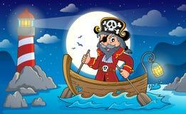 Piratkopiera i fartygämnebild 2 stock illustrationer