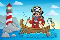 Piratkopiera i fartygämnebild 4 vektor illustrationer