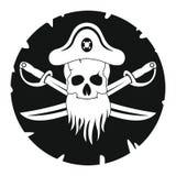 Piratkopiera illustrationen i svart simlpestil Arkivbilder