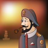 Piratkopiera kaptenen med skägget och leda i rör Royaltyfri Foto