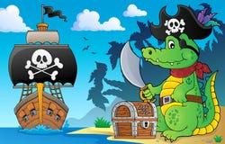 Piratkopiera krokodiltema 5 royaltyfri illustrationer