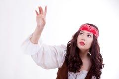 Piratkopiera kvinnan på vit bakgrund Fotografering för Bildbyråer