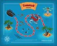 Piratkopiera leken i tecknad filmstil Seascape med en banabild Mobil manöverenhet med ö- och havsmonster: hajen kraken Arkivfoto