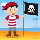Piratkopiera med flaggan på en strand Royaltyfri Bild