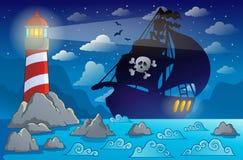 Piratkopiera near kust 2 för skeppkonturn royaltyfri illustrationer