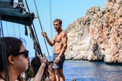 Piratkopiera och dykaren Anaconda Royaltyfri Foto