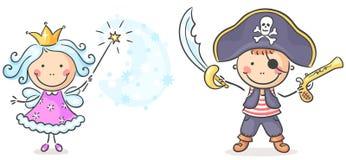 Piratkopiera och fedräkter stock illustrationer