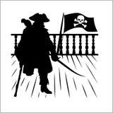 Piratkopiera och Jolly Roger - vektorkontur stock illustrationer