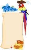 Piratkopiera papegojan och snirkeln Royaltyfri Bild