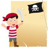 Piratkopiera pojken och gammalt pergament Arkivbilder