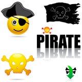 piratkopiera set symboler royaltyfri illustrationer