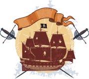 Piratkopiera shipen och ett emblem med sabers Fotografering för Bildbyråer