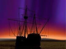 Piratkopiera shipen och nordliga lampor royaltyfri illustrationer