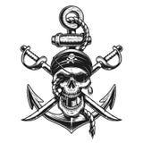 Piratkopiera skalleemblemet med svärd, ankare royaltyfri illustrationer