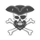 Piratkopiera skallen i rest upp hatt med skägget, ögonlapp Arkivbild