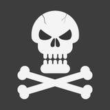 Piratkopiera skallen med ben på svart bakgrund också vektor för coreldrawillustration Royaltyfri Fotografi