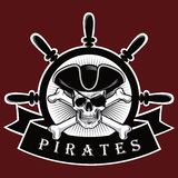 Piratkopiera skallen med den arga benhatten och röd bakgrund Logo Design Vector Illustration för ögonlapp Royaltyfria Foton