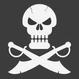 Piratkopiera skallen med sablar på svart bakgrund också vektor för coreldrawillustration Royaltyfri Bild