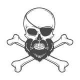 Piratkopiera skallen med skägget, syna lappen och korsade Arkivbild
