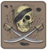 Piratkopiera skallen med svärd (Jolly Roger) Royaltyfri Fotografi