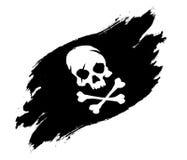 Piratkopiera skallen och ben för flaggagrungevektor royaltyfri illustrationer