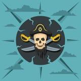 Piratkopiera skallen och korsade sablar Arkivbilder
