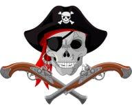 Piratkopiera skallen och vapen stock illustrationer