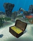 Piratkopiera skattbröstkorgen för ` s under havet royaltyfri illustrationer
