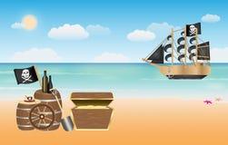Piratkopiera skatten med piratkopierar skeppplats på stranden Royaltyfri Bild