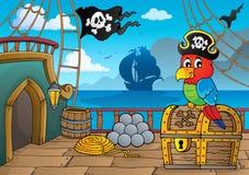 Piratkopiera skeppdäckthematics 2 stock illustrationer