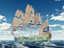 Piratkopiera skeppet av det 18th århundradet stock illustrationer