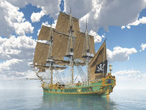 Piratkopiera skeppet av det 18th århundradet royaltyfri illustrationer