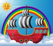 Piratkopiera skeppet i himmelillustrationen Royaltyfri Foto