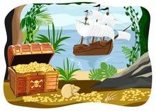 Piratkopiera skeppet som är synligt från en grotta vektor illustrationer