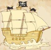 Piratkopiera skeppseglingen under Jolly Roger Flag In Old Paper stock illustrationer